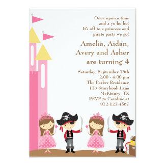 Invitación de la princesa y del pirata invitación 12,7 x 17,8 cm