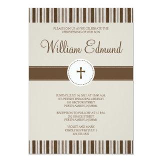 Invitación de la raya de Brown del bautizo