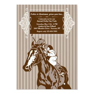 Invitación de la raya del caballo y del jinete invitación 12,7 x 17,8 cm