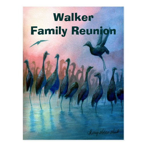 Invitación de la reunión de familia con los pájaro postales