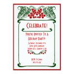 Invitación de la tarjeta de Navidad de las bayas