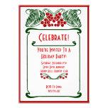 Invitación de la tarjeta de Navidad de las bayas d