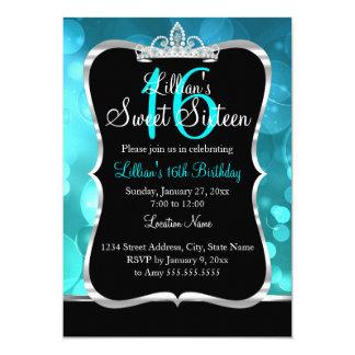 Tarjeta Invitación de la tiara del negro azul del trullo
