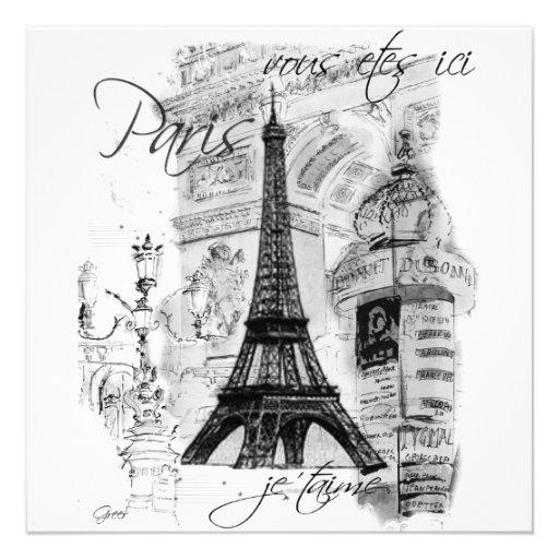Invitación de la torre Eiffel de Eiffel del viaje