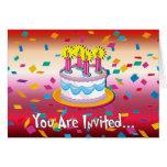 Invitación de la torta de cumpleaños felicitaciones