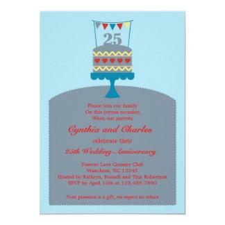 Invitación de la torta del aniversario de boda 25