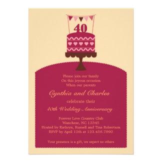 Invitación de la torta del aniversario de boda 40