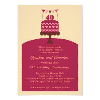 Invitación de la torta del aniversario de boda 40 invitación 12,7 x 17,8 cm