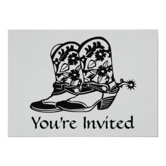 Invitación de las botas de vaquero del caballo