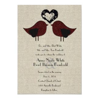 Invitación de lino del boda del estilo de los
