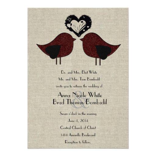 Invitación de lino del boda del estilo de los pája