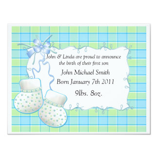 Invitación de los botines de la PLANTILLA del bebé Invitación 10,8 X 13,9 Cm