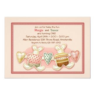 Invitación de los conejitos del hermano invitación 12,7 x 17,8 cm