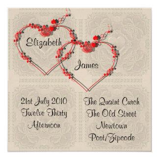 Invitación de los corazones del capullo de rosa invitación 13,3 cm x 13,3cm