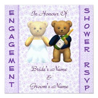 Invitación de los osos de peluche de la lila de la invitación 13,3 cm x 13,3cm