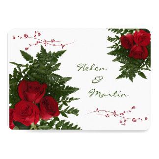 Invitación de los ramos del rosa rojo