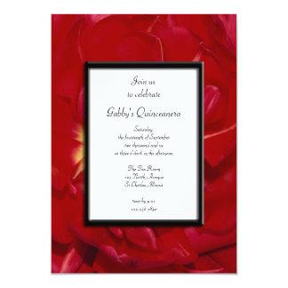 Invitación de lujo roja del fiesta de Quinceanera