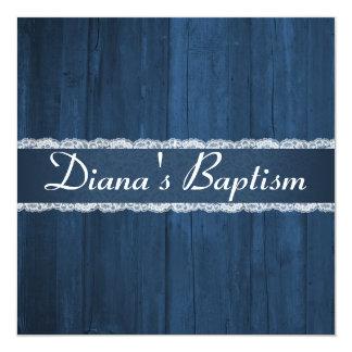 Invitación de madera azul rústica elegante