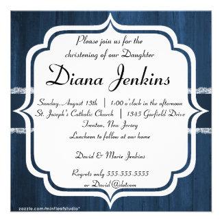 Invitación de madera azul rústica elegante lamenta