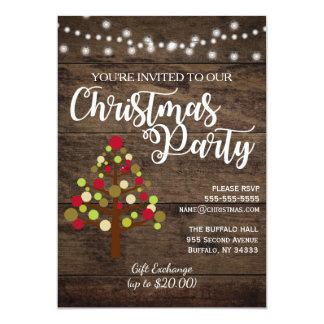Invitación de madera de la fiesta de Navidad del