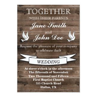 Invitación de madera del boda del país