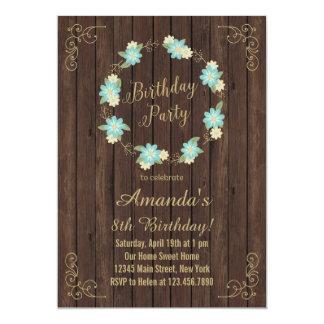 Invitación de madera del cumpleaños de las flores