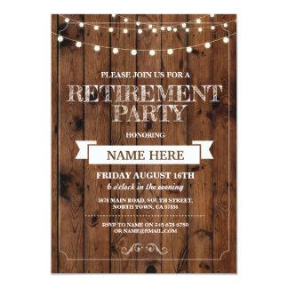 Invitación de madera jubilada rústica del fiesta
