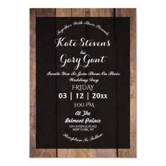 Invitación de madera oscura simple del boda