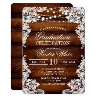 Invitación de madera rústica de la graduación del