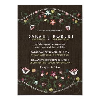 Invitación de madera rústica del boda de la