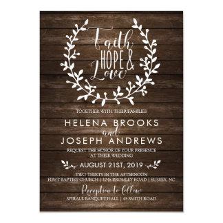Invitación de madera rústica del boda de la fe