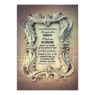 invitación de madera rústica del boda del marco invitación 12,7 x 17,8 cm