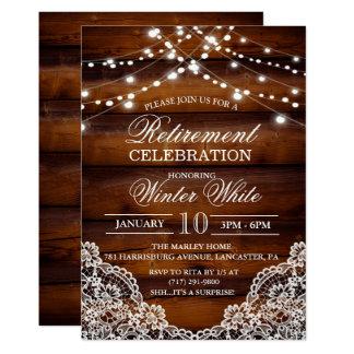 Invitación de madera rústica del cordón