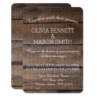 Invitación de madera rústica elegante del boda de