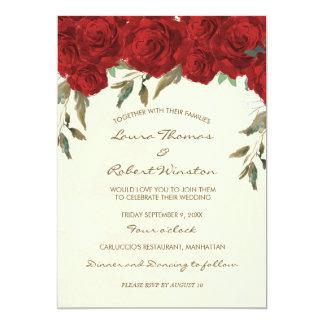 Invitación de marfil floral del boda de los rosas
