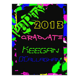 Invitación de neón de la fiesta de graduación
