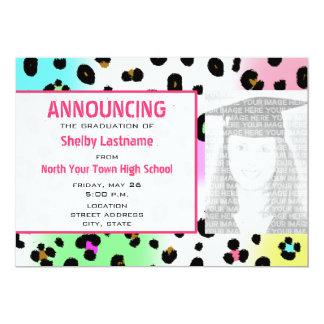 Invitación de neón de la foto de la graduación del invitación 12,7 x 17,8 cm