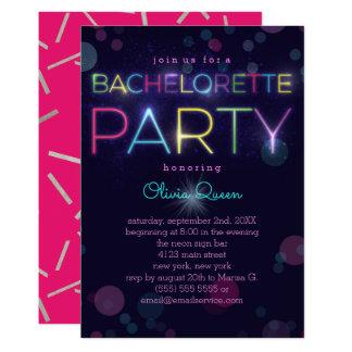 Invitación de neón del fiesta de Bachelorette que