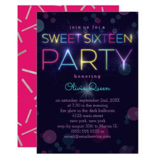 Invitación de neón del fiesta del dulce que brilla