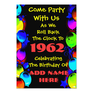 Invitación de neón retra de la fiesta de invitación 12,7 x 17,8 cm