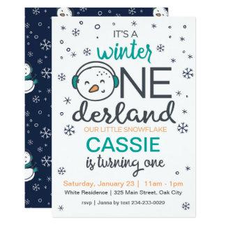 Invitación de ONEderland del invierno del muñeco