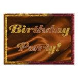 Invitación de oro de la fiesta de cumpleaños