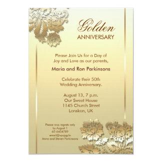 invitación de oro del aniversario 50