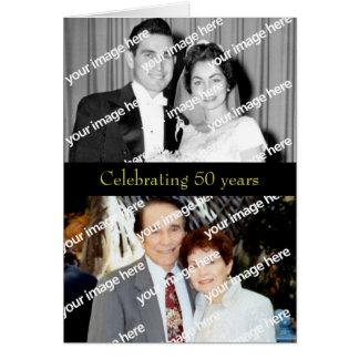 Invitación de oro del aniversario del pasado y pre tarjeta