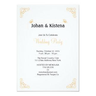Invitación de oro del banquete de boda