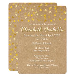 Invitación de oro del bautizo del bautismo de los