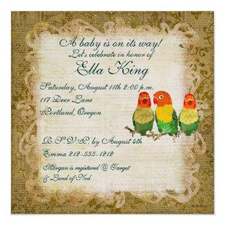 Invitación de oro del bebé de los pájaros del amor