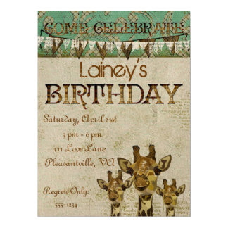 Invitación de oro del cumpleaños de las jirafas invitación 16,5 x 22,2 cm
