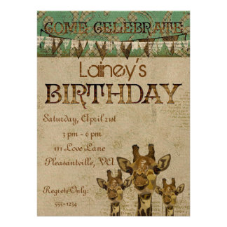 Invitación de oro del cumpleaños de las jirafas de