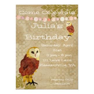 Invitación de oro del cumpleaños del búho invitación 13,9 x 19,0 cm